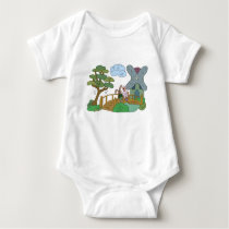 Sheep and hare at the lake baby bodysuit