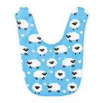 Sheep and Hearts - Blue Baby Bib