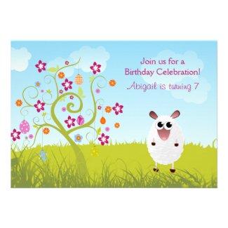 Sheep and Holiday Eggs Birthday Invitation ~ Girls