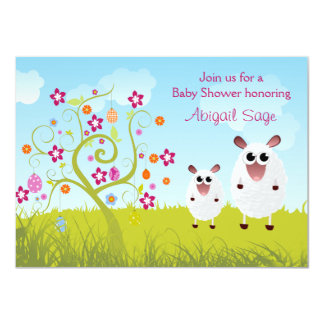 "Sheep and Holiday Eggs Girl's Baby Shower Invite 4.5"" X 6.25"" Invitation Card"