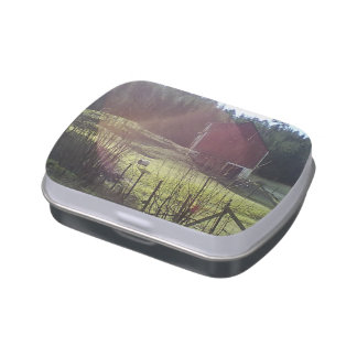 Sheep and red building jelly belly tin