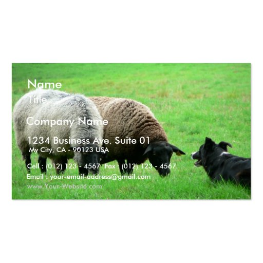 Sheep And Sheep Dog Business Card