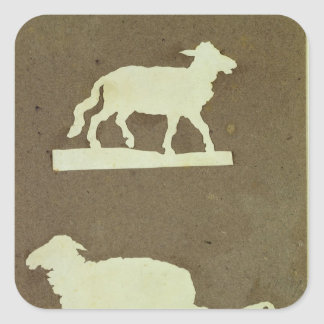 Sheep and Sheep with Lamb Square Sticker