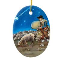 Sheep and shepherd ceramic ornament