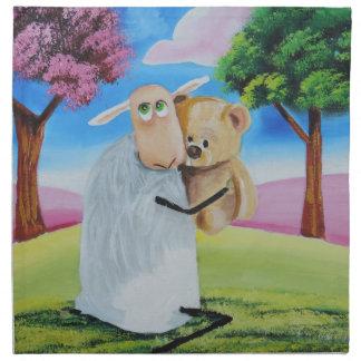Sheep and teddy bear by Gordon Bruce Cloth Napkin