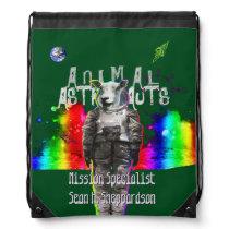 Sheep Animal Astronaut in Rainbow Galaxy Drawstring Bag