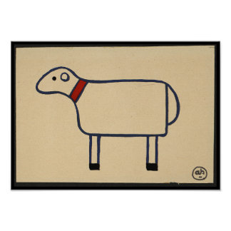 Sheep - Antiquarian, Colorful Book Illustration Poster