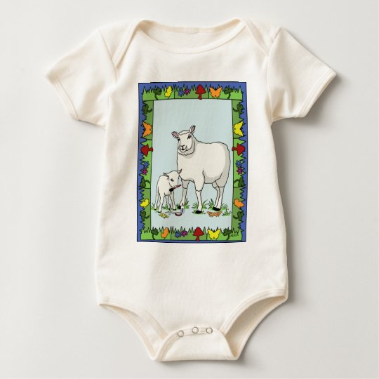 """Sheep Artist, Sheep Art"" Organic Infant Creeper"