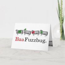 Sheep baa humbug knitting crochet Christmas Card