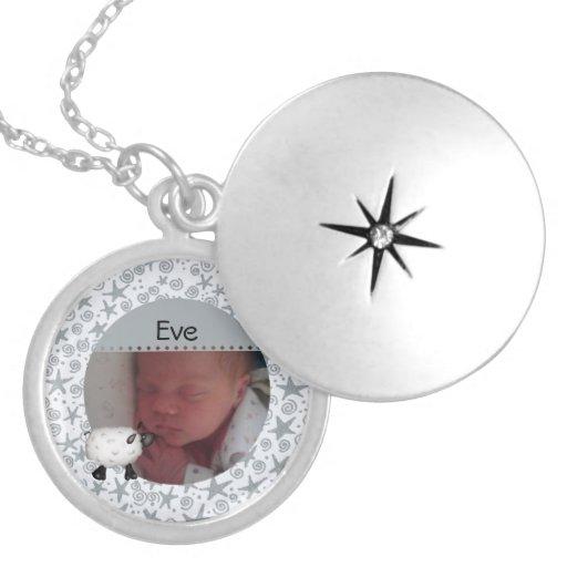 Sheep Baby Photo Necklace Round Locket Necklace