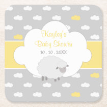Sheep Baby Shower (Gender Neutral) Square Paper Coaster