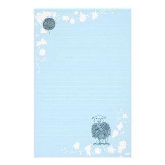 Sheep Ball of yarn on light blue background Stationery