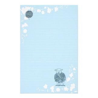 Sheep Ball of yarn on light blue background Custom Stationery