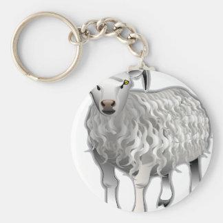 Sheep Basic Round Button Keychain