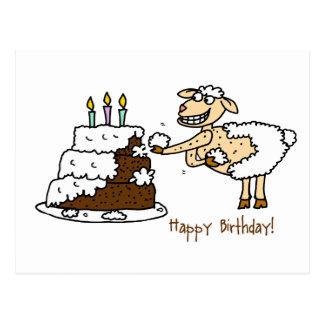 Sheep Birthday Cake Postcard