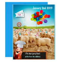 sheep birthday invitation