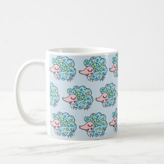 Sheep (blue) of star handle coffee mug