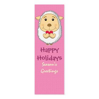 Sheep Bookmark Pink Mini Business Card