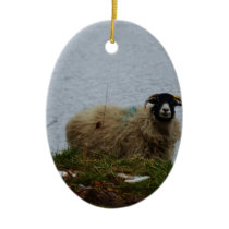 Sheep by the water ceramic ornament