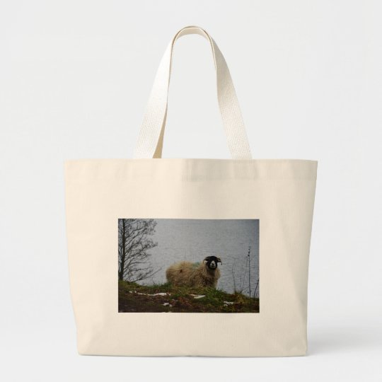 Sheep by the water large tote bag
