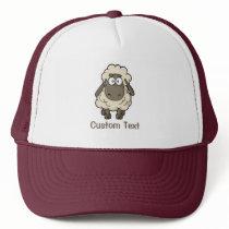 Sheep Cartoon Beige Trucker Hat