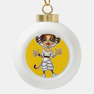 Sheep cat girl ceramic ball christmas ornament