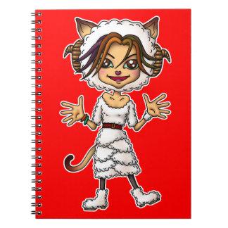 Sheep cat girl spiral notebook