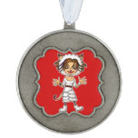 Sheep cat girl scalloped pewter christmas ornament