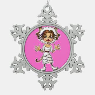 Sheep cat girl snowflake pewter christmas ornament