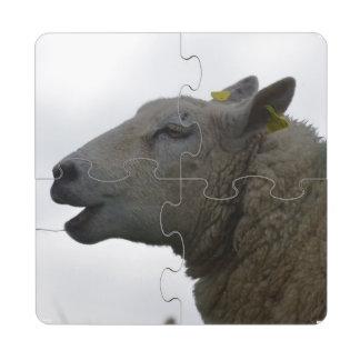 Sheep Chomping on Hay Puzzle Coaster