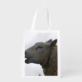 Sheep Chomping on Hay Reusable Grocery Bag