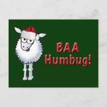 Sheep Christmas BAA Humbug!, BAA Humbug Holiday Postcard