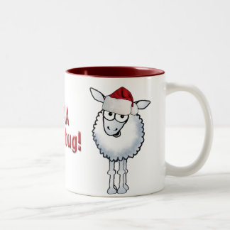 Sheep Christmas BAA Humbug!, Sheep Christmas BA... Two-Tone Coffee Mug