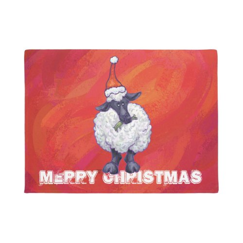 Sheep Christmas On Red Doormat