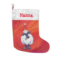 Sheep Christmas On Red Large Christmas Stocking