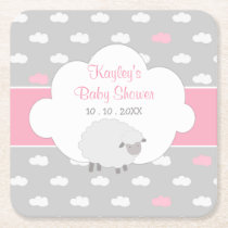 Sheep & Cloud Girl Baby Shower (Pink Gray) Square Paper Coaster