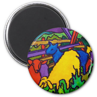 Sheep Color by Piliero 2 Inch Round Magnet