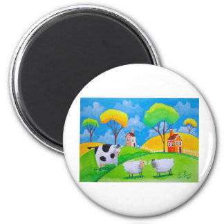 SHEEP COW FOLK PAINTING 2 INCH ROUND MAGNET