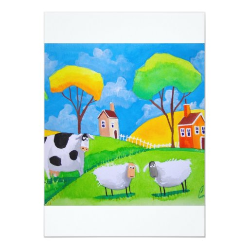 SHEEP COW FOLK PAINTING 5X7 PAPER INVITATION CARD