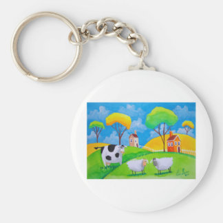 SHEEP COW FOLK PAINTING KEYCHAIN