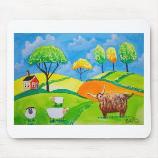 SHEEP COW FOLK PAINTING MOUSE PAD