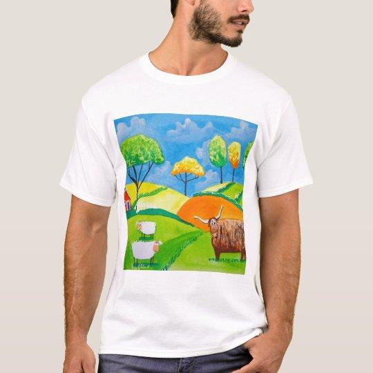 SHEEP COW FOLK PAINTING T-Shirt