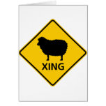 Sheep Crossing Highway Sign Cards