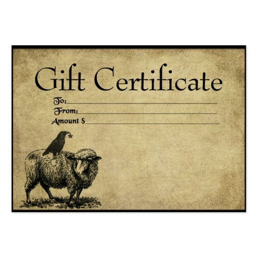 Sheep crow stack prim gift certificate cards zazzle for Zazzle gift certificate