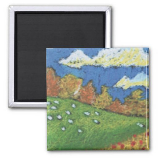 Sheep Custom Expressionist Art Magnet