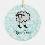 Sheep; Cute Double-Sided Ceramic Round Christmas Ornament