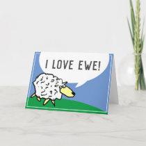 Sheep Design Cartoon with I Love Ewe Pun Card