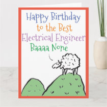 Sheep Design Happy Birthday Electrical Engineer Card