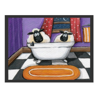 Sheep Dip | Sheep in a Bath Illustration Postcard