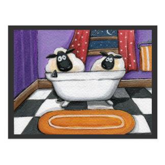 Sheep Dip   Sheep in a Bath Illustration Postcard